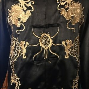 Embroidered Dragon Silk Button Down